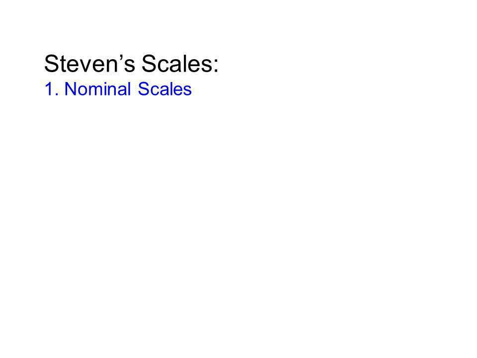 Steven's Scales: 1. Nominal Scales