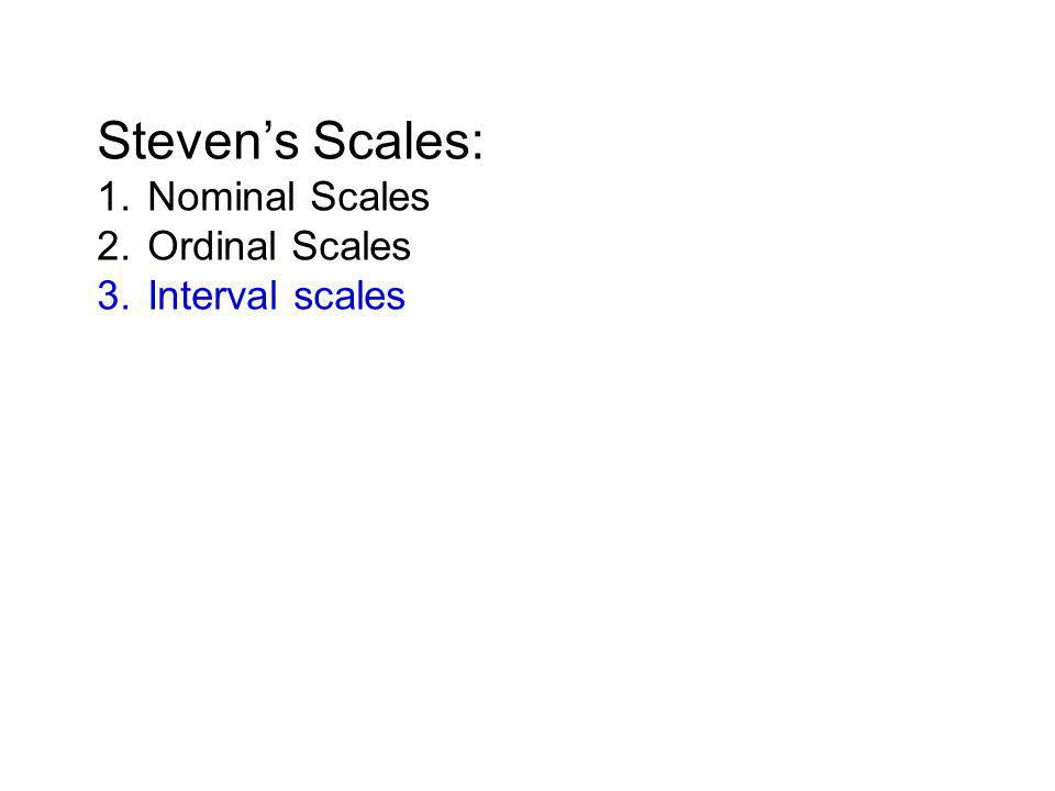 Steven's Scales: 1. Nominal Scales 2. Ordinal Scales 3. Interval scales