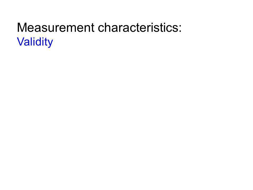 Measurement characteristics: Validity