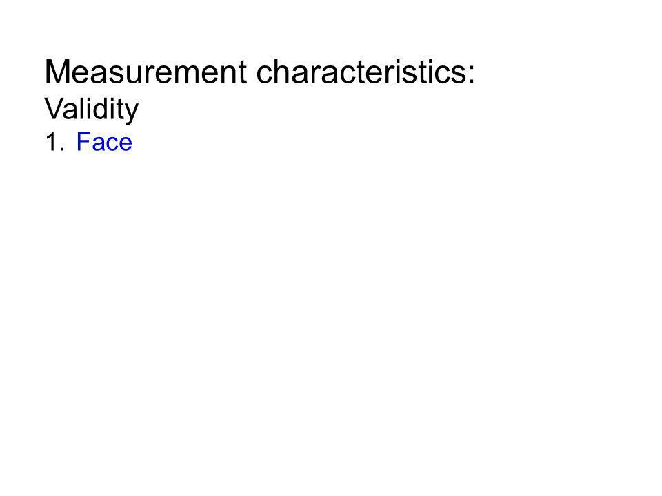 Measurement characteristics: Validity 1. Face