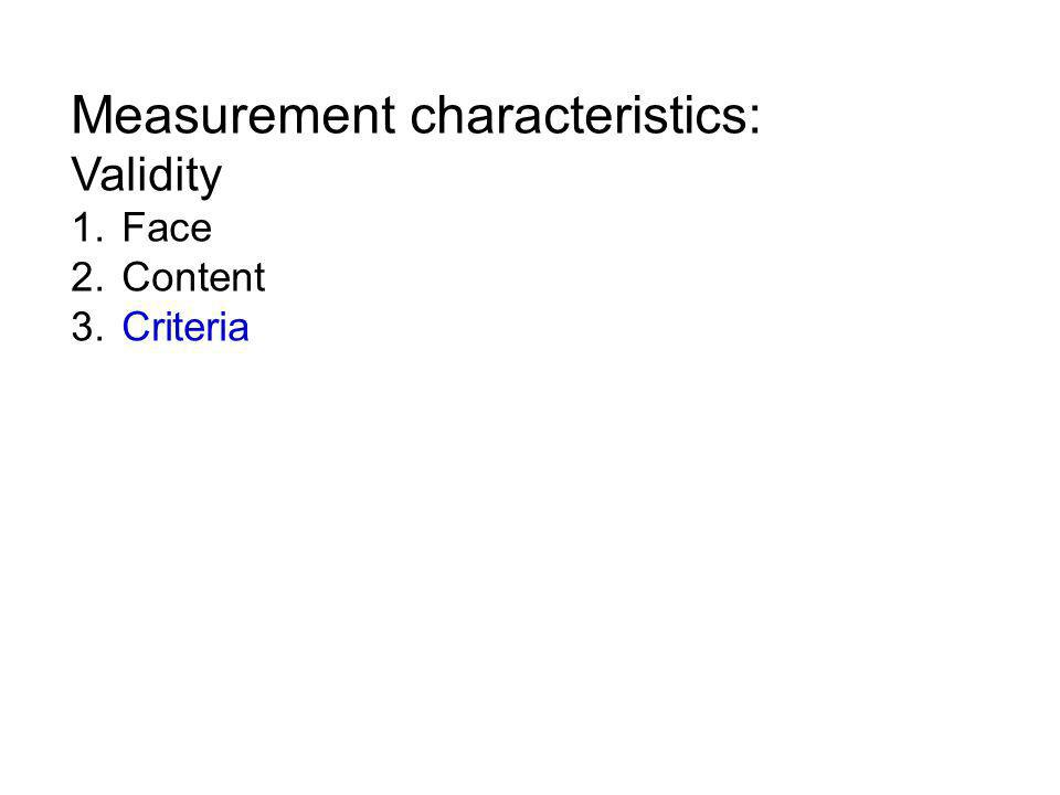 Measurement characteristics: Validity 1. Face 2. Content 3. Criteria
