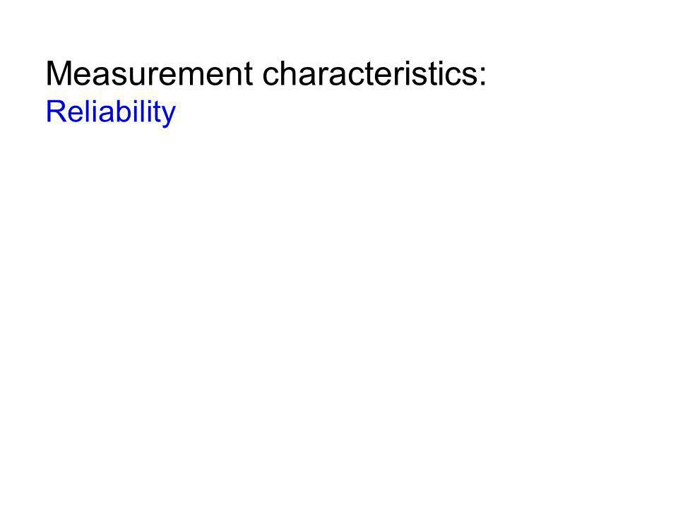Measurement characteristics: Reliability