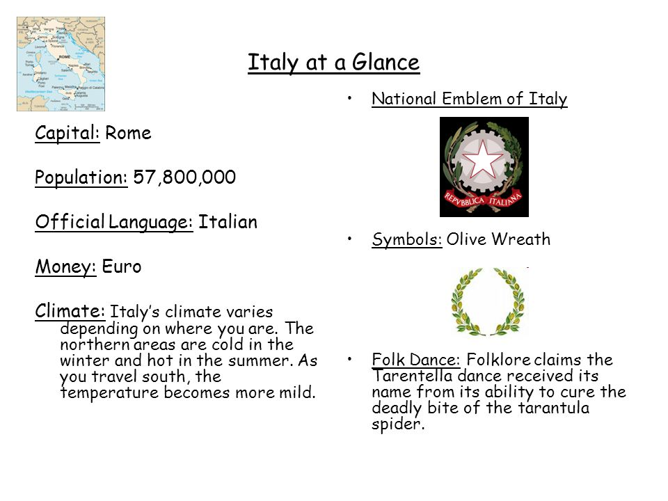 Italy at a Glance Capital: Rome Population: 57,800,000 Official Language: Italian Money: Euro Climate: Italy's climate varies depending on where you a