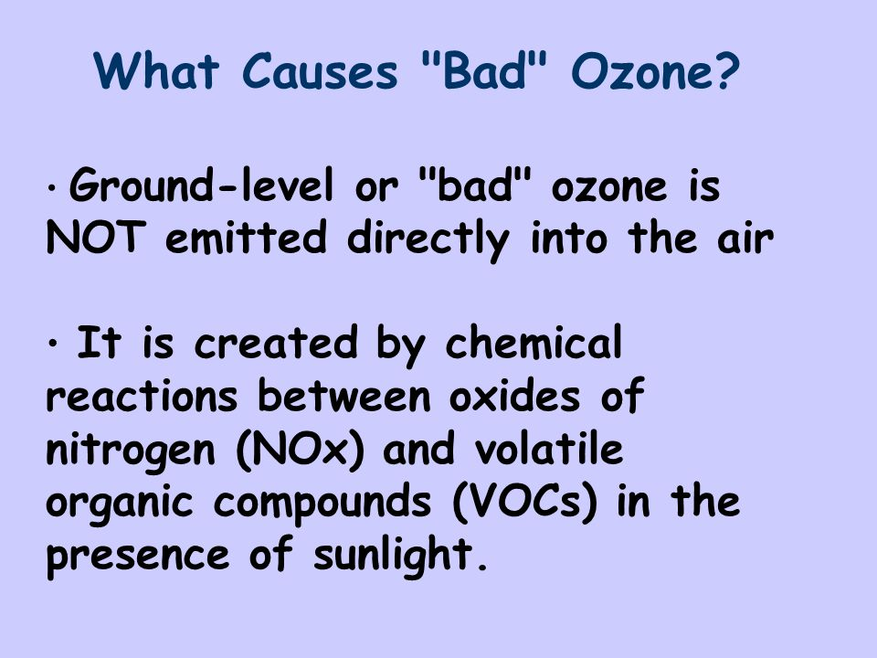 Some of the major sources of NOx and VOCs Gasoline vapors Chemical solvents Emissions from: -Industrial facilities -Electric utilities -Motor vehicle exhaust