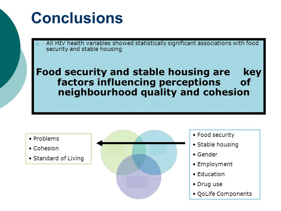 Conclusions Neighbourhood Perceptions Social factors  All HIV health variables showed statistically significant associations with food security and stable housing Food security and stable housing are key factors influencing perceptions of neighbourhood quality and cohesion Problems Cohesion Standard of Living Food security Stable housing Gender Employment Education Drug use QoLife Components