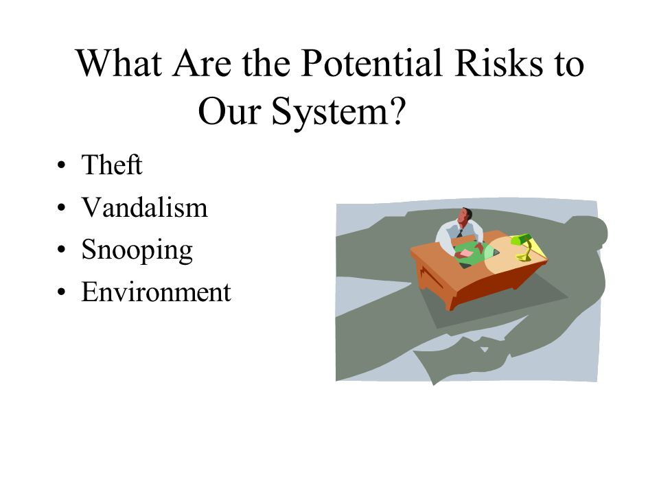 What Are the Potential Risks to Our System? Theft Vandalism Snooping Environment