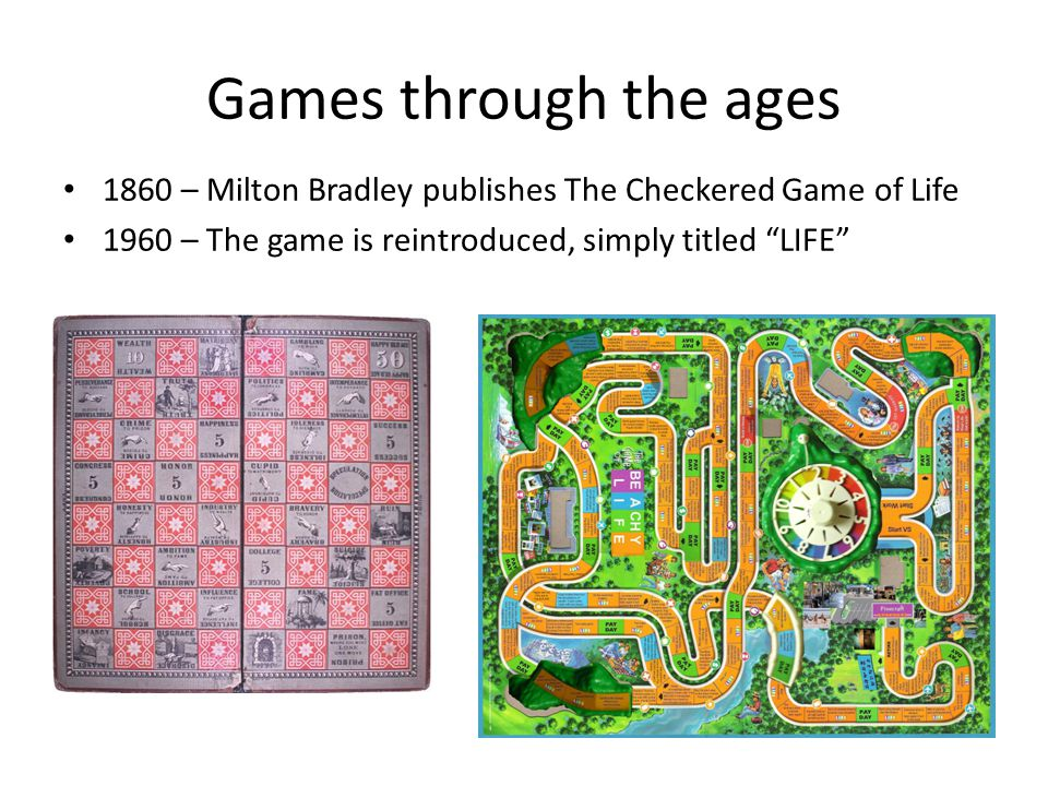 Games through the ages 1860 – Milton Bradley publishes The Checkered Game of Life 1960 – The game is reintroduced, simply titled LIFE
