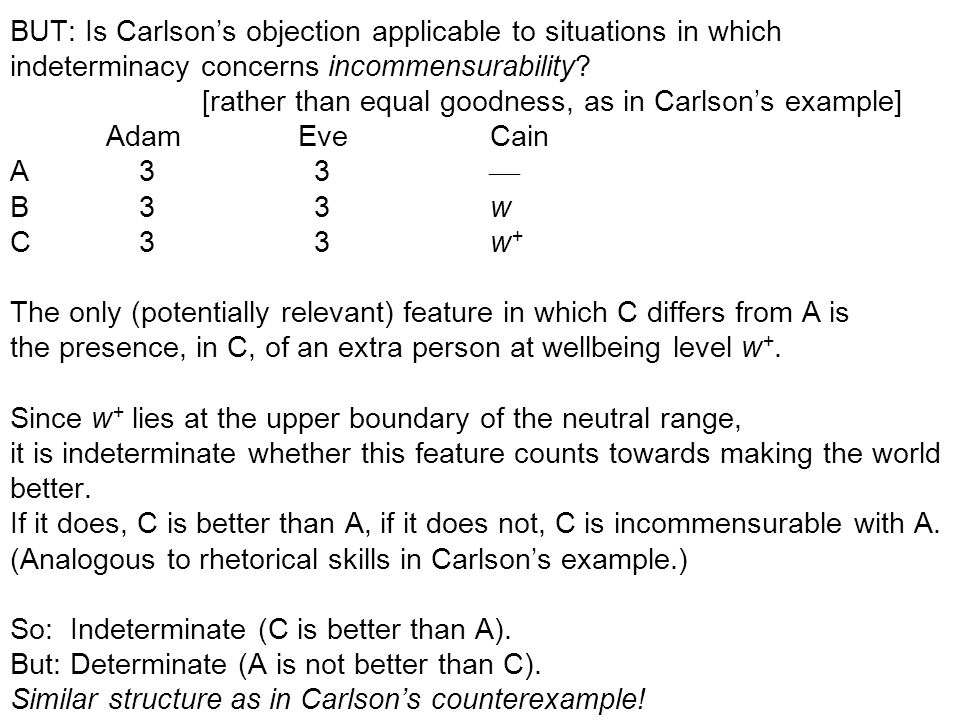 BUT: Is Carlson's objection applicable to situations in which indeterminacy concerns incommensurability.