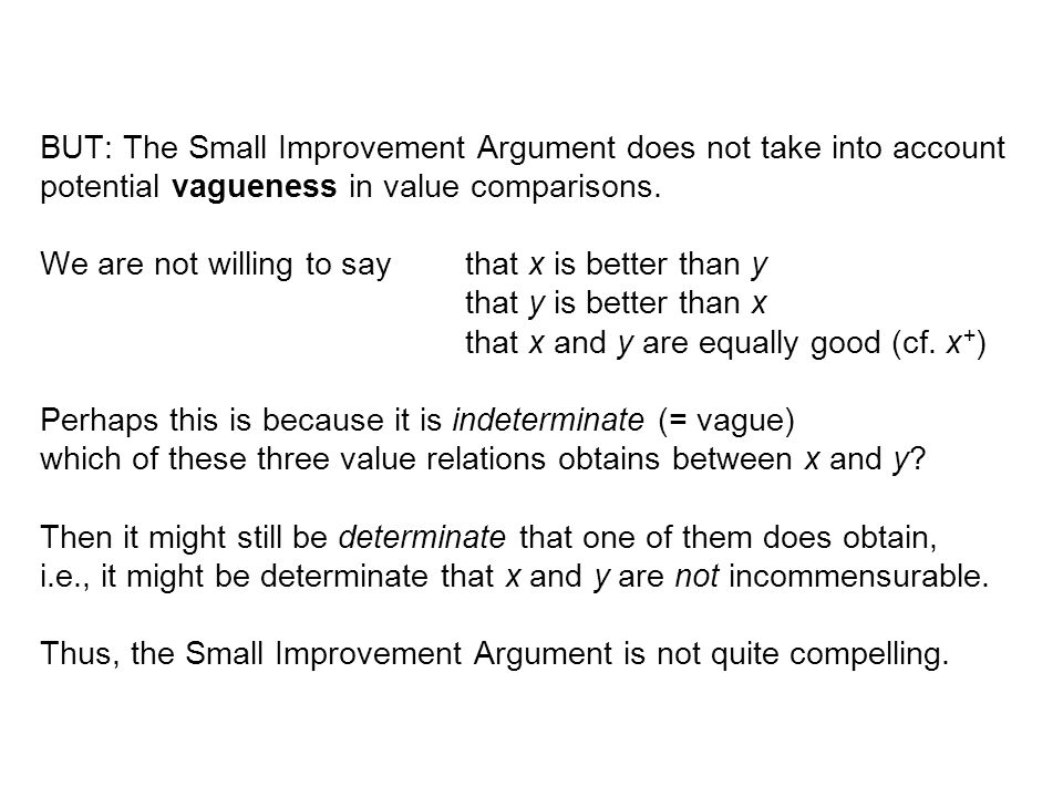 BUT: The Small Improvement Argument does not take into account potential vagueness in value comparisons.