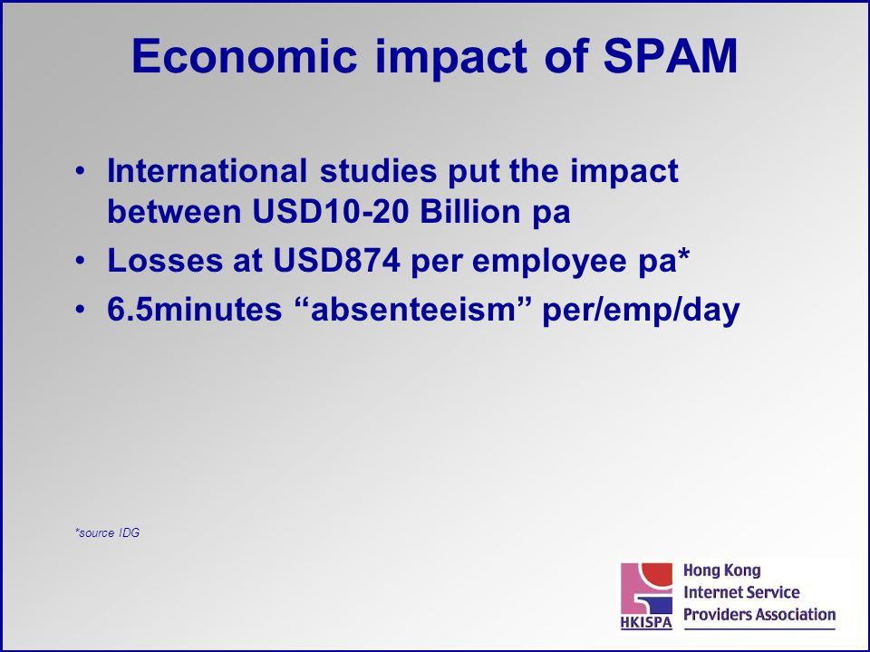 "Economic impact of SPAM International studies put the impact between USD10-20 Billion pa Losses at USD874 per employee pa* 6.5minutes ""absenteeism"" pe"