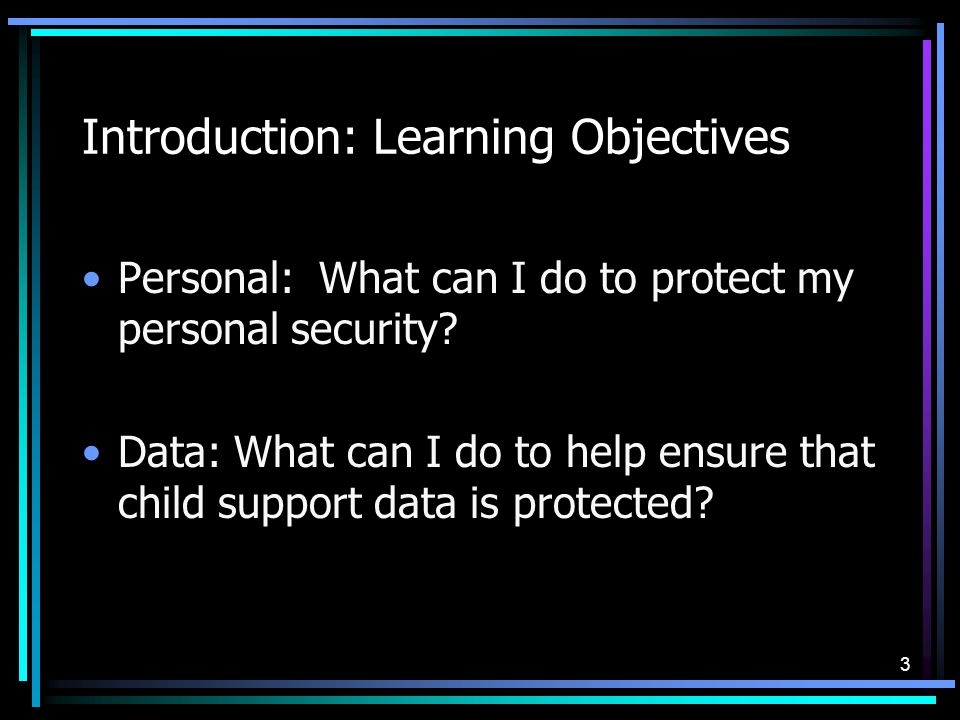 3 Introduction: Learning Objectives Personal: What can I do to protect my personal security.