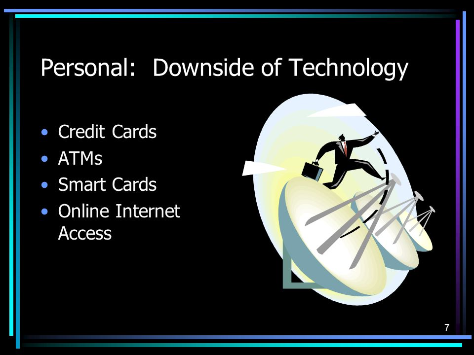 7 Personal: Downside of Technology Credit Cards ATMs Smart Cards Online Internet Access