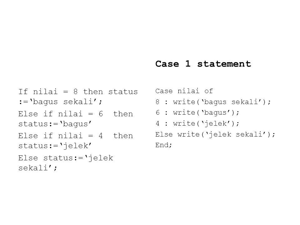 If nilai = 8 then status :='bagus sekali'; Else if nilai = 6 then status:='bagus' Else if nilai = 4 then status:='jelek' Else status:='jelek sekali'; Case 1 statement Case nilai of 8 : write('bagus sekali'); 6 : write('bagus'); 4 : write('jelek'); Else write('jelek sekali'); End;
