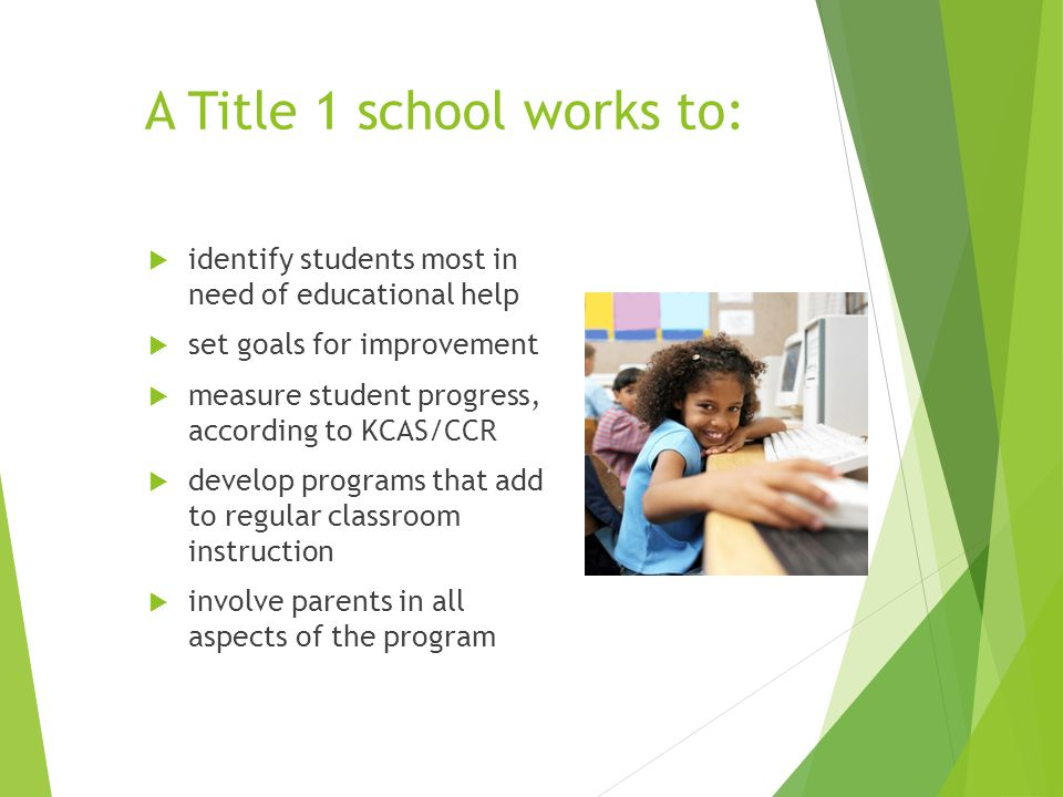 A Title 1 school works to:  identify students most in need of educational help  set goals for improvement  measure student progress, according to KCAS/CCR  develop programs that add to regular classroom instruction  involve parents in all aspects of the program