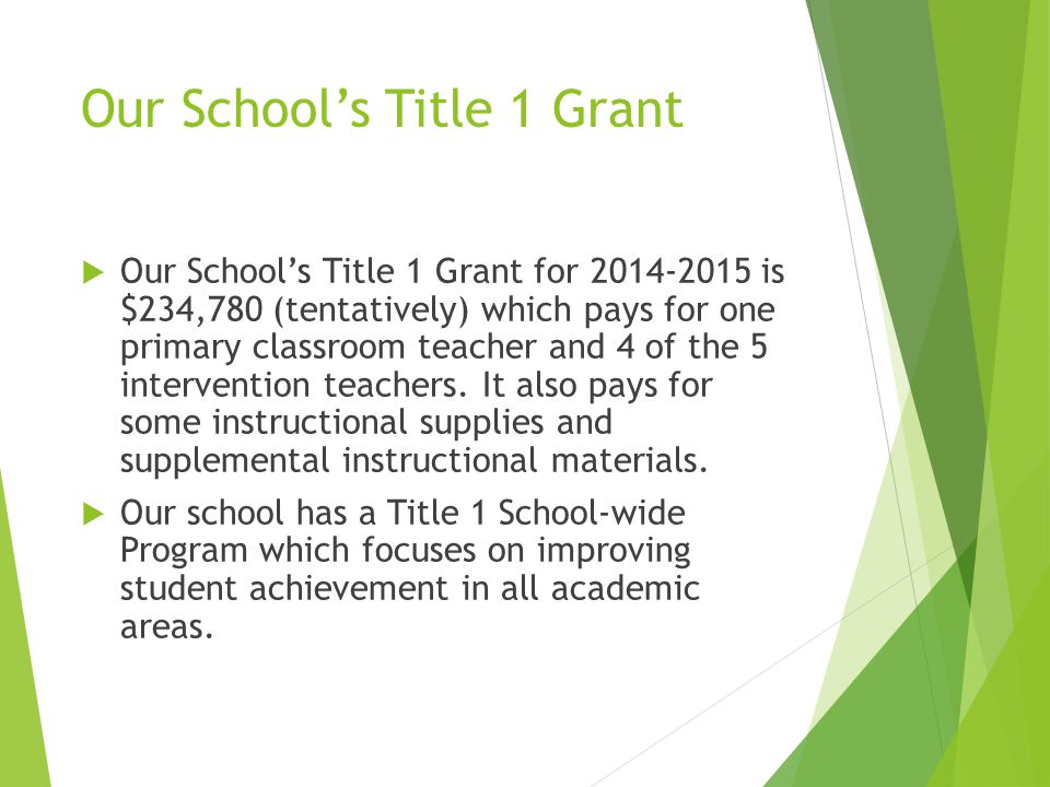 Our School's Title 1 Grant  Our School's Title 1 Grant for 2014-2015 is $234,780 (tentatively) which pays for one primary classroom teacher and 4 of the 5 intervention teachers.
