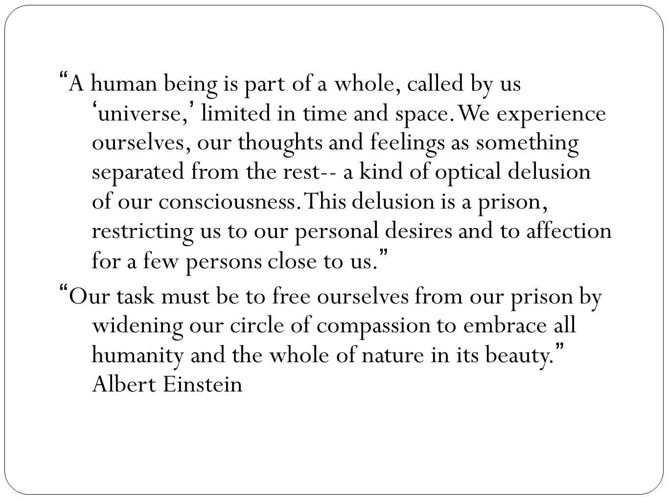 A human being is part of a whole, called by us 'universe,' limited in time and space.