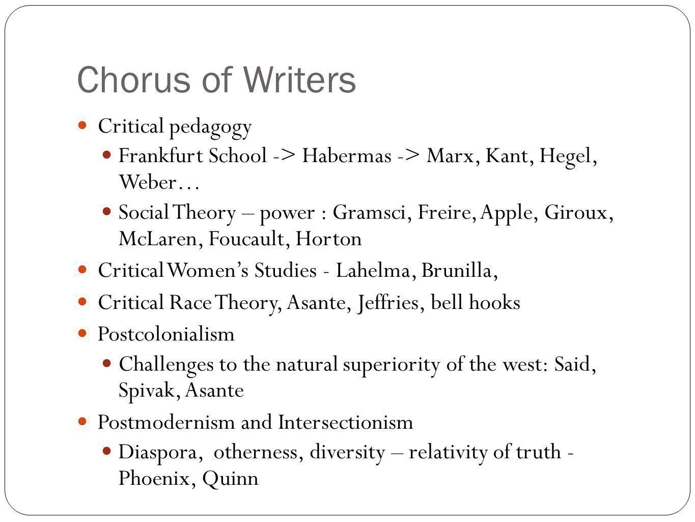 Chorus of Writers Critical pedagogy Frankfurt School -> Habermas -> Marx, Kant, Hegel, Weber… Social Theory – power : Gramsci, Freire, Apple, Giroux,
