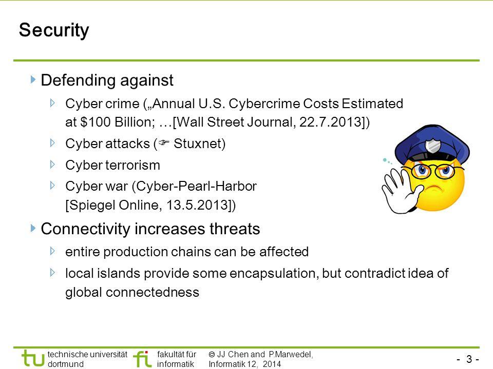 """- 3 - technische universität dortmund fakultät für informatik  JJ Chen and P.Marwedel, Informatik 12, 2014 Security Defending against Cyber crime (""""Annual U.S."""