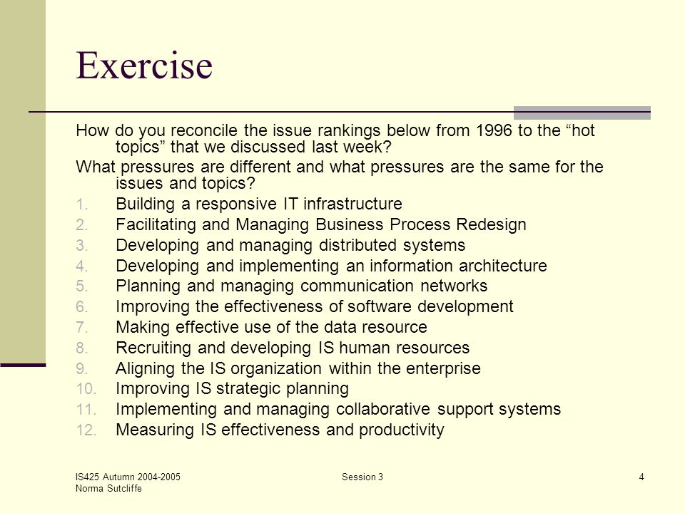 "IS425 Autumn 2004-2005 Norma Sutcliffe Session 34 Exercise How do you reconcile the issue rankings below from 1996 to the ""hot topics"" that we discuss"