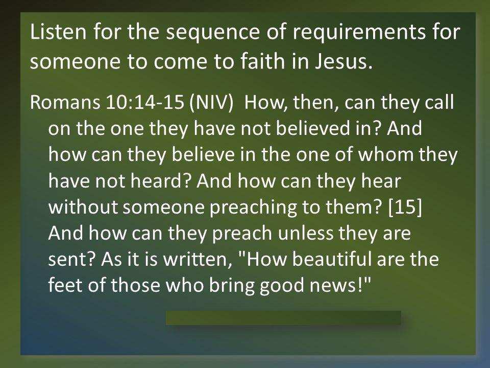 Listen for the sequence of requirements for someone to come to faith in Jesus.