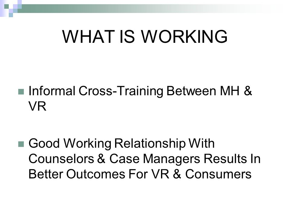 WHAT IS WORKING Informal Cross-Training Between MH & VR Good Working Relationship With Counselors & Case Managers Results In Better Outcomes For VR & Consumers