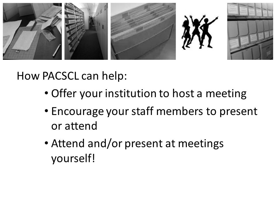 Hosting a Meeting Room for 25-40 people AV equipment for PowerPoint slides Meetings are from 6:00-7:00 Set up 5:30-6:00 Clean up 7:00-7:30 *There are light refreshments served at the meeting