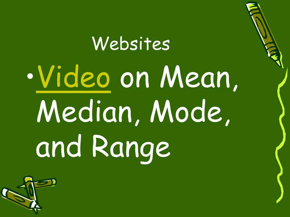 Websites Video on Mean, Median, Mode, and RangeVideo
