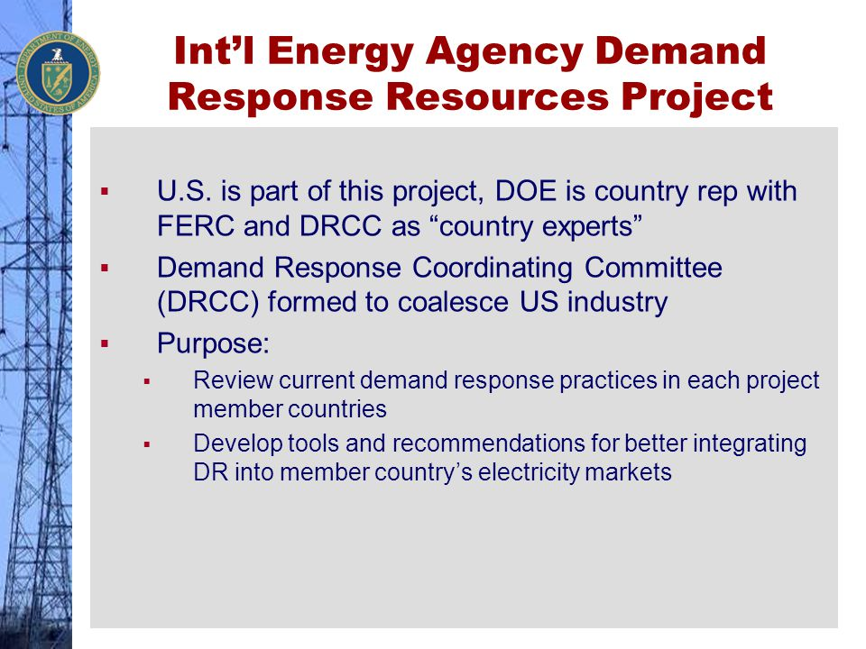 """Int'l Energy Agency Demand Response Resources Project  U.S. is part of this project, DOE is country rep with FERC and DRCC as """"country experts""""  Dem"""