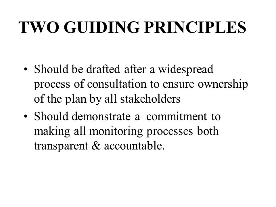 TWO GUIDING PRINCIPLES Should be drafted after a widespread process of consultation to ensure ownership of the plan by all stakeholders Should demonst