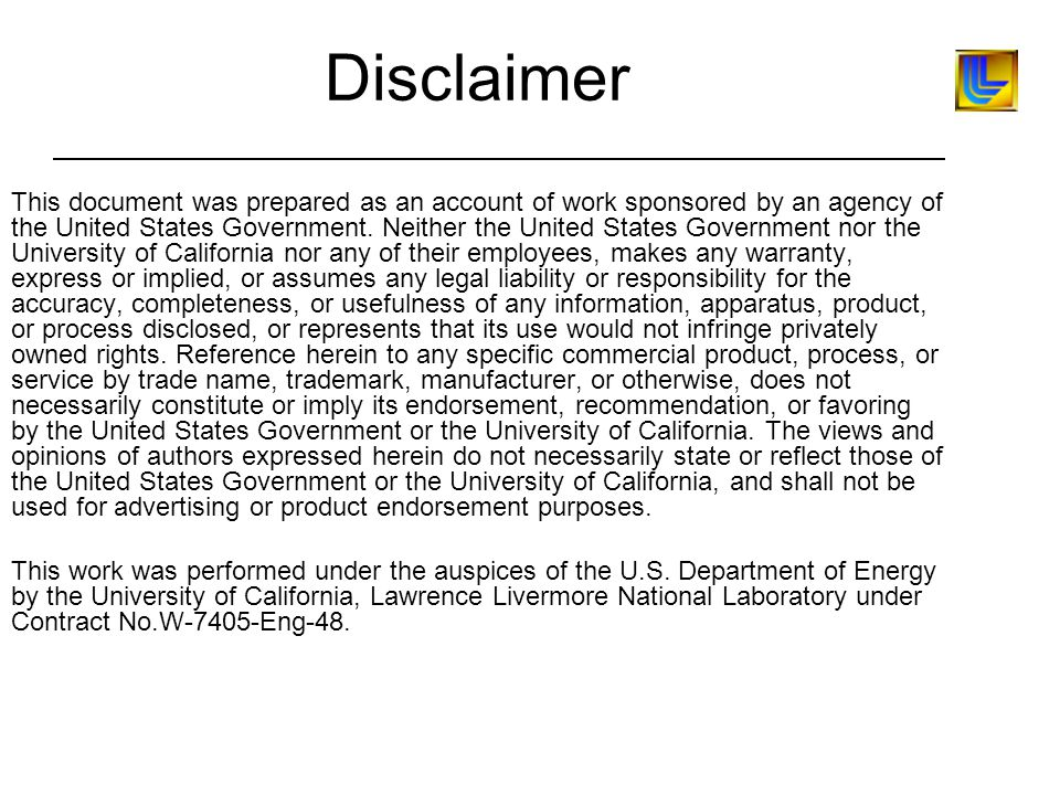 Disclaimer This document was prepared as an account of work sponsored by an agency of the United States Government.