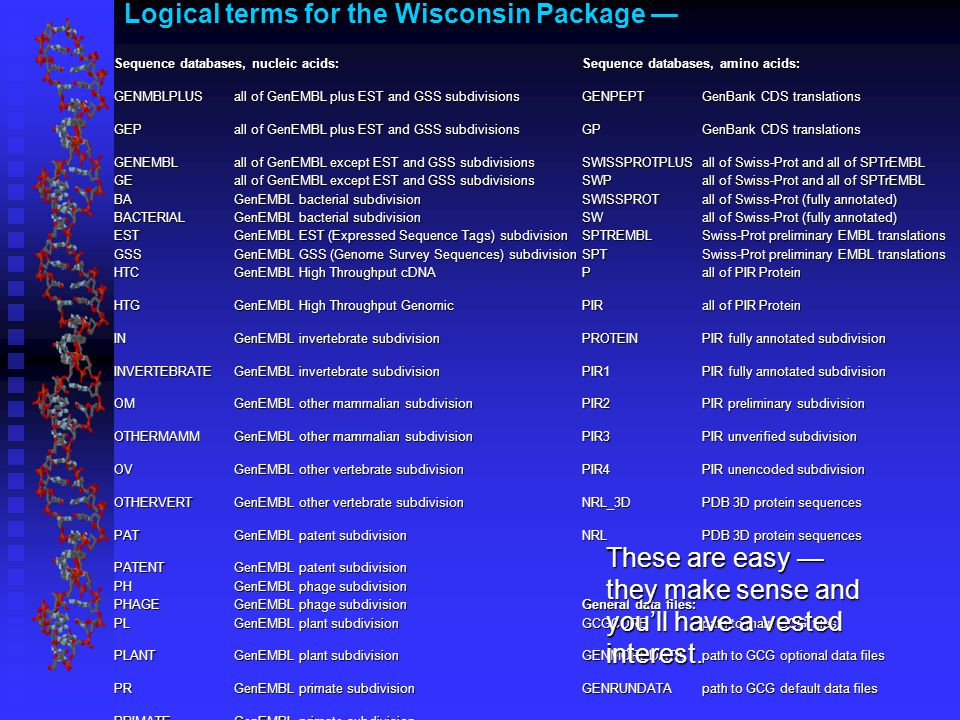 Logical terms for the Wisconsin Package — Sequence databases, nucleic acids:Sequence databases, amino acids: GENMBLPLUSall of GenEMBL plus EST and GSS subdivisionsGENPEPTGenBank CDS translations GEPall of GenEMBL plus EST and GSS subdivisionsGPGenBank CDS translations GENEMBLall of GenEMBL except EST and GSS subdivisionsSWISSPROTPLUSall of Swiss-Prot and all of SPTrEMBL GEall of GenEMBL except EST and GSS subdivisionsSWPall of Swiss-Prot and all of SPTrEMBL BAGenEMBL bacterial subdivisionSWISSPROTall of Swiss-Prot (fully annotated) BACTERIALGenEMBL bacterial subdivisionSWall of Swiss-Prot (fully annotated) ESTGenEMBL EST (Expressed Sequence Tags) subdivisionSPTREMBLSwiss-Prot preliminary EMBL translations GSSGenEMBL GSS (Genome Survey Sequences) subdivisionSPTSwiss-Prot preliminary EMBL translations HTCGenEMBL High Throughput cDNAPall of PIR Protein HTGGenEMBL High Throughput GenomicPIRall of PIR Protein INGenEMBL invertebrate subdivisionPROTEINPIR fully annotated subdivision INVERTEBRATEGenEMBL invertebrate subdivisionPIR1PIR fully annotated subdivision OMGenEMBL other mammalian subdivisionPIR2PIR preliminary subdivision OTHERMAMMGenEMBL other mammalian subdivisionPIR3PIR unverified subdivision OVGenEMBL other vertebrate subdivision PIR4PIR unencoded subdivision OTHERVERTGenEMBL other vertebrate subdivision NRL_3DPDB 3D protein sequences PATGenEMBL patent subdivision NRLPDB 3D protein sequences PATENTGenEMBL patent subdivision PHGenEMBL phage subdivision PHAGEGenEMBL phage subdivision General data files: PLGenEMBL plant subdivision GCGCORE path to main GCG files PLANTGenEMBL plant subdivision GENMOREDATApath to GCG optional data files PRGenEMBL primate subdivision GENRUNDATApath to GCG default data files PRIMATEGenEMBL primate subdivision ROGenEMBL rodent subdivision RODENTGenEMBL rodent subdivision STSGenEMBL (sequence tagged sites) subdivision SYGenEMBL synthetic subdivision SYNTHETICGenEMBL synthetic subdivision TAGSGenEMBL EST and GSS subdivisions UNGenEMBL unannotated subdivision UNANNOTATEDGenEMBL unannotated subdivision VIGenEMBL viral subdivision VIRALGenEMBL viral subdivision These are easy — they make sense and you'll have a vested interest.