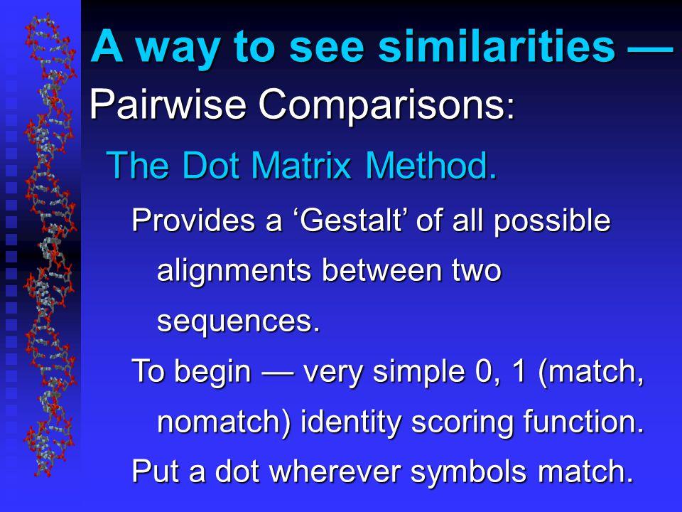 Pairwise Comparisons : The Dot Matrix Method.