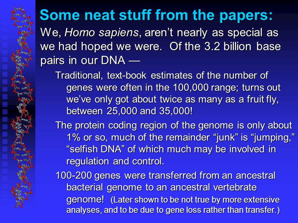 Some neat stuff from the papers: We, Homo sapiens, aren't nearly as special as we had hoped we were.