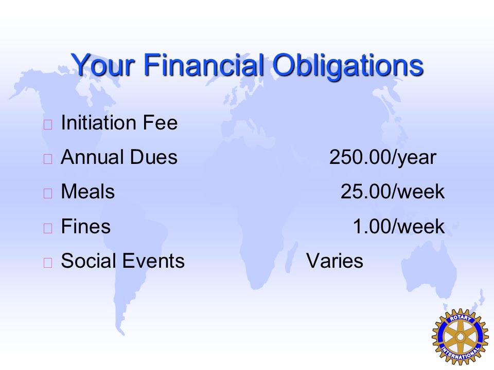 Your Financial Obligations u Initiation Fee u Annual Dues250.00/year u Meals25.00/week u Fines1.00/week u Social EventsVaries