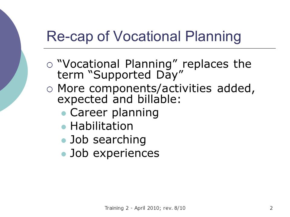 Focus of Vocational Planning Vocational Planning services are delivered with the person or on their behalf.