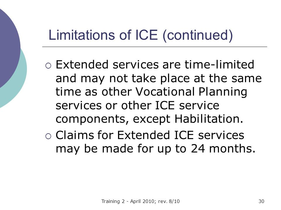 Limitations of ICE (continued)  Extended services are time-limited and may not take place at the same time as other Vocational Planning services or other ICE service components, except Habilitation.