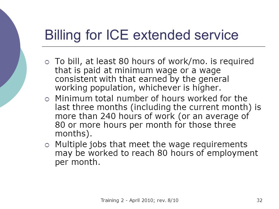 Billing for ICE extended service  To bill, at least 80 hours of work/mo.