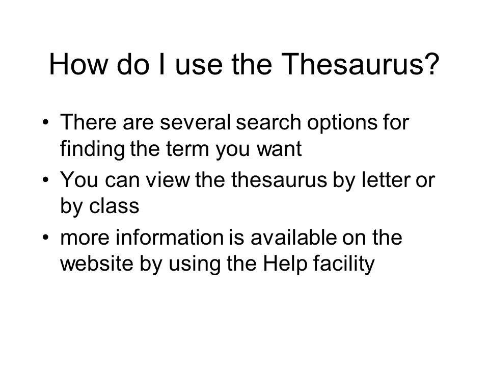How do I use the Thesaurus.