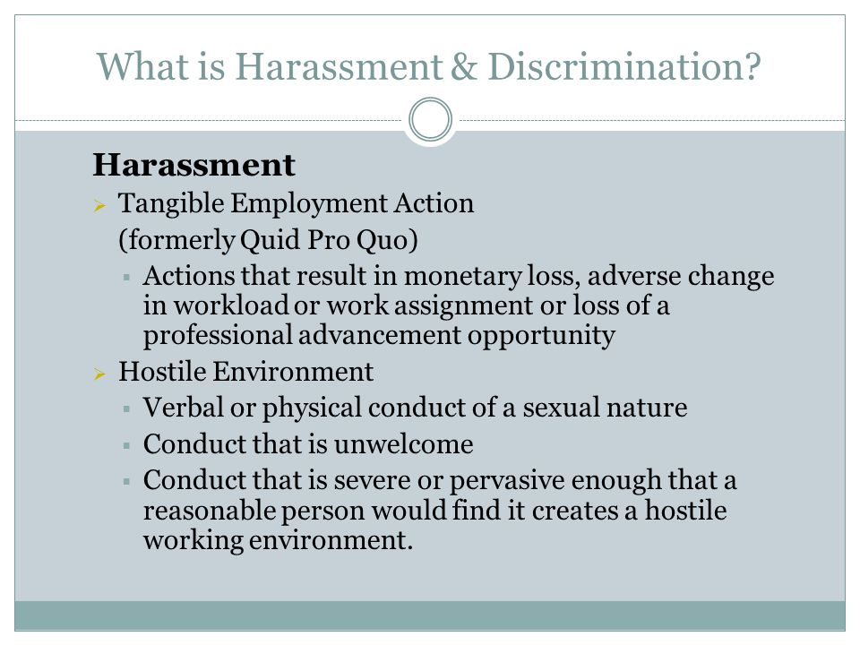 Myths and Misconceptions about Sexual Harassment Myth: An harasser has to have sexual intentions towards their target for the behavior to count as sexual harassment.