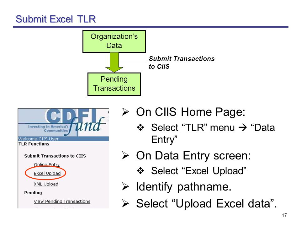 17 Submit Excel TLR  On CIIS Home Page:  Select TLR menu  Data Entry  On Data Entry screen:  Select Excel Upload  Identify pathname.