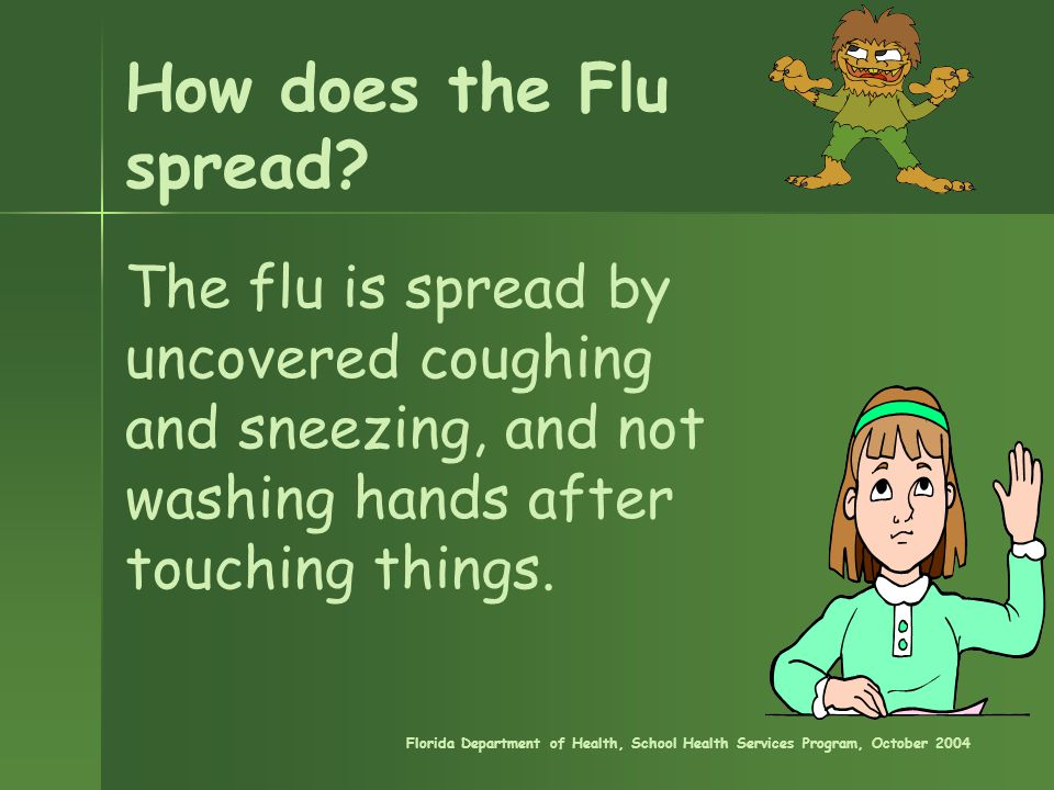How does the Flu spread? The flu is spread by uncovered coughing and sneezing, and not washing hands after touching things. Florida Department of Heal