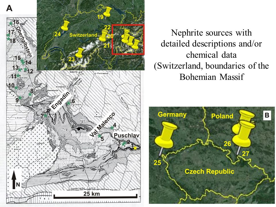 Nephrite sources with detailed descriptions and/or chemical data (Switzerland, boundaries of the Bohemian Massif
