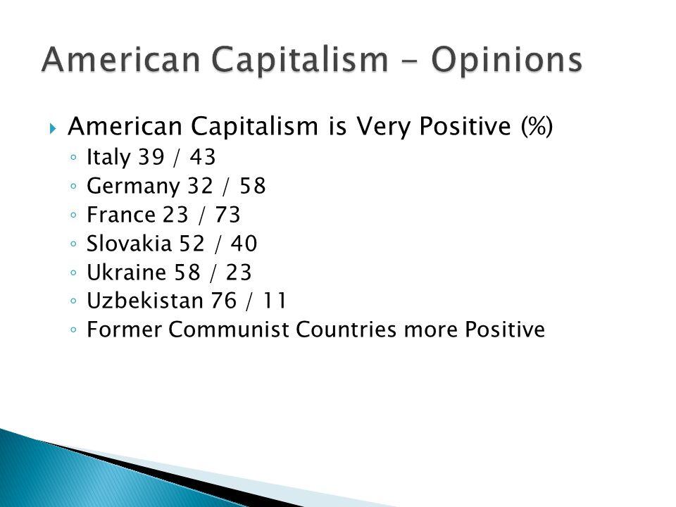  American Capitalism is Very Positive (%) ◦ Italy 39 / 43 ◦ Germany 32 / 58 ◦ France 23 / 73 ◦ Slovakia 52 / 40 ◦ Ukraine 58 / 23 ◦ Uzbekistan 76 / 11 ◦ Former Communist Countries more Positive
