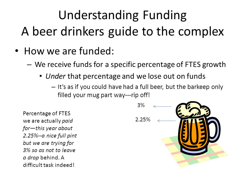 Understanding Funding A beer drinkers guide to the complex How we are funded: – We receive funds for a specific percentage of FTES growth Under that percentage and we lose out on funds – It's as if you could have had a full beer, but the barkeep only filled your mug part way---rip off.