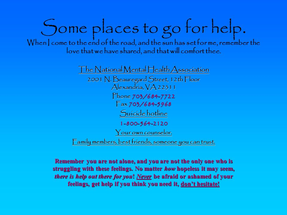 Some places to go for help.