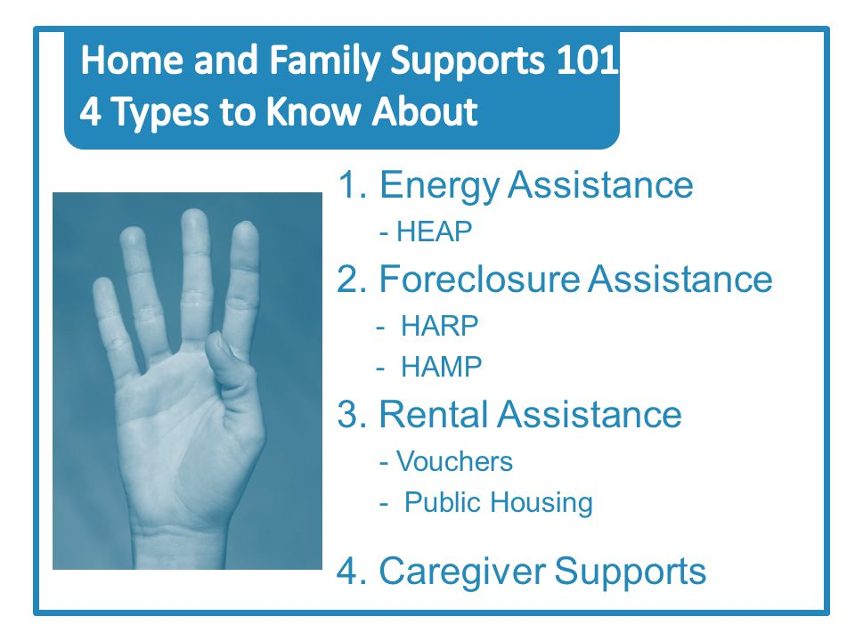 1.Energy Assistance - HEAP 2. Foreclosure Assistance - HARP - HAMP 3.