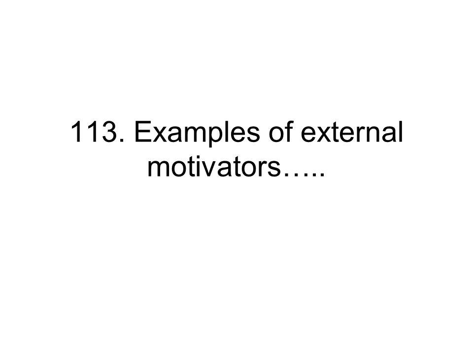 113. Examples of external motivators…..