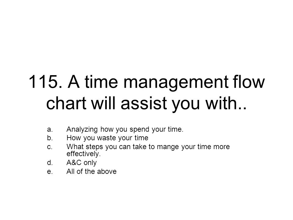 115. A time management flow chart will assist you with.. a.Analyzing how you spend your time. b.How you waste your time c.What steps you can take to m