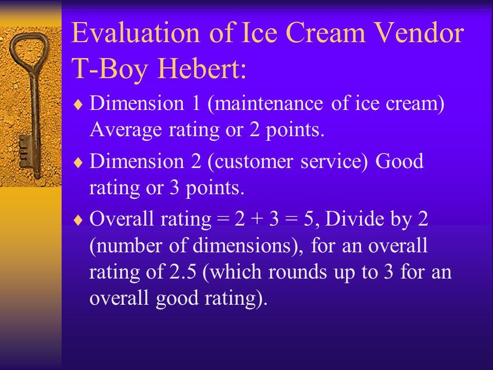 Evaluation of Ice Cream Vendor T-Boy Hebert:  Dimension 1 (maintenance of ice cream) Average rating or 2 points.  Dimension 2 (customer service) Goo