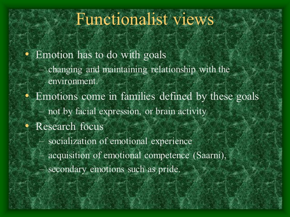 Functionalist views Emotion has to do with goals –changing and maintaining relationship with the environment.